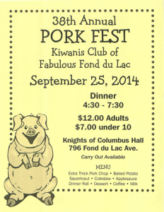2014 38th Annual Pork Fest Flyer
